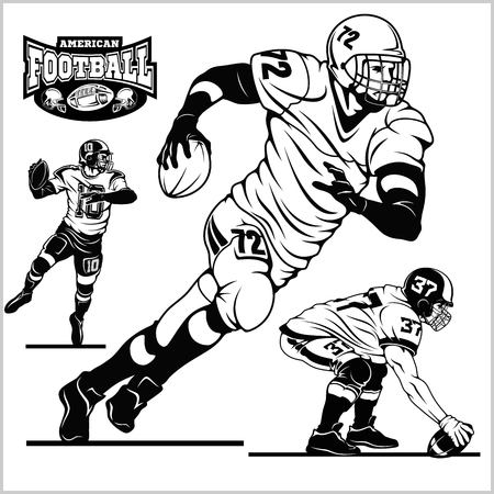 American football players in action isolated on the white - vector stock
