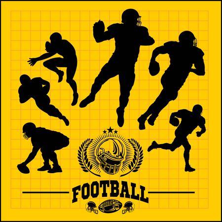 vector, jugadores de fútbol, en, siluetas, -, vector, acción