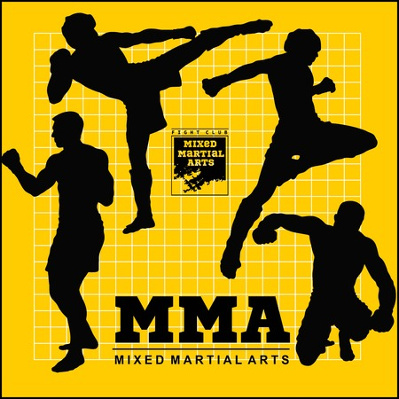 Set of mma fighters vector silhouette - stock illustration