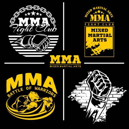 MMA mixed martial arts emblem badges - vector set. Gray style.