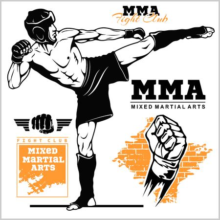 Fighters of martial mixed arts. Sport club emblem. Vector stock illustration isolated on white. Stock Illustratie