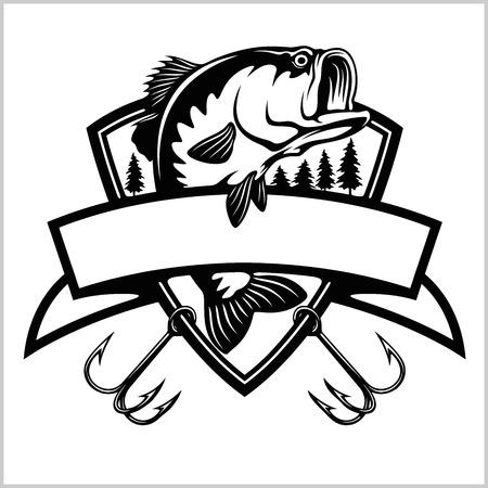 Logo wędkarskie. Ryba basowa z godłem klubu szablon. Ilustracja wektorowa tematu połowów. Na białym tle.