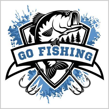 Marchio di pesca. Pesce basso con emblema del club modello. Illustrazione di vettore di tema di pesca. Vettoriali