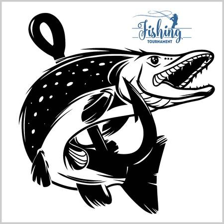 Koszula z emblematem wędkarstwa szczupakowego. Wektor logo ryby szczupak. Motyw tła połowów na świeżym powietrzu.