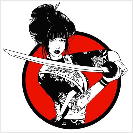 beautiful japanese geisha woman and traditional katana sword black and white vector design Vektorové ilustrace