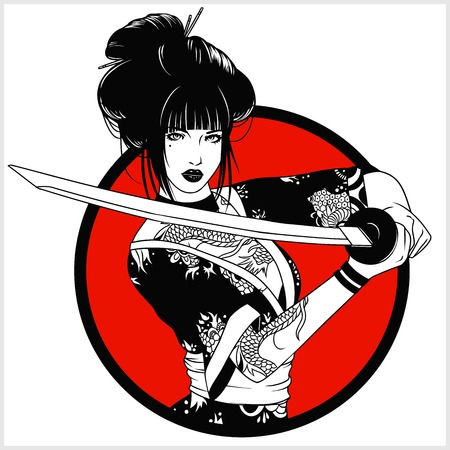 beautiful japanese geisha woman and traditional katana sword black and white vector design