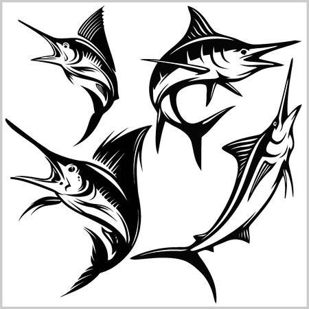 Set of vector blue marlin fish Vektorové ilustrace