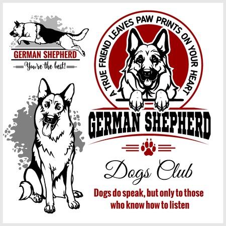 German Shepherd - vector set for t-shirt, logo and template badges