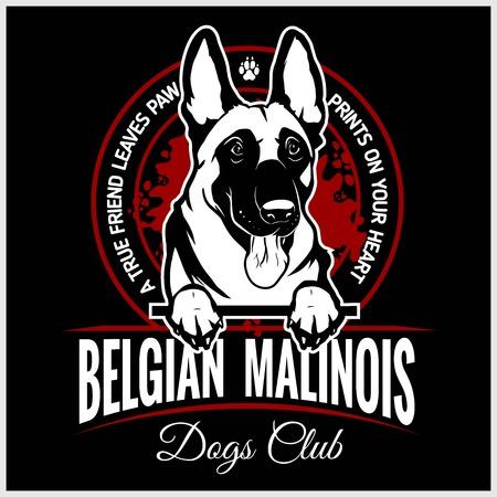 Malinois, Belgian Malinois, Belgian Shepherd Dog - vector illustration for t-shirt, logo and template badges Illustration