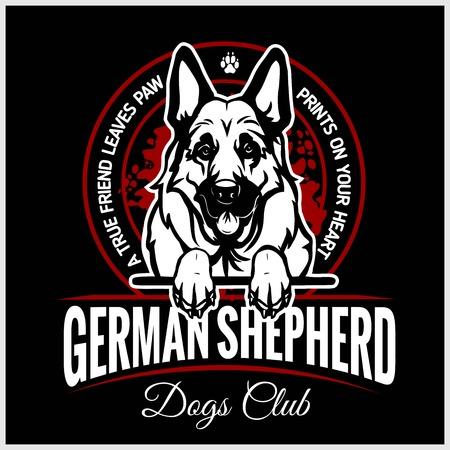 Pastor alemán - ilustración vectorial para camisetas, logotipos e insignias de plantillas Logos