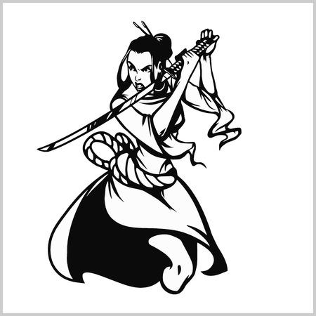Beautiful samurai girl with katana