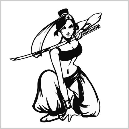 Beautiful samurai girl with katana