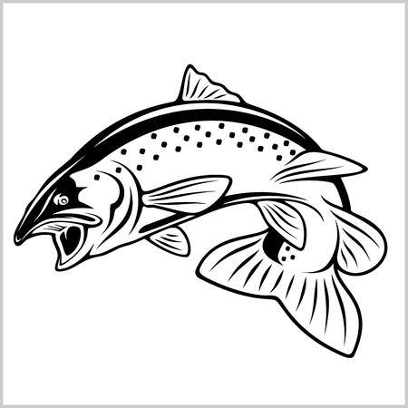 Poisson truite - illustration du logo. Emblème de pêche