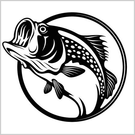 Logo de pêche. Emblème du club de pêche à l'achigan. Illustration vectorielle de pêche thème. Isolé sur blanc.