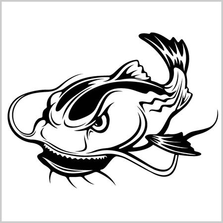 Illustration de vecteur de poisson-chat de dessin animé isolé Vecteurs