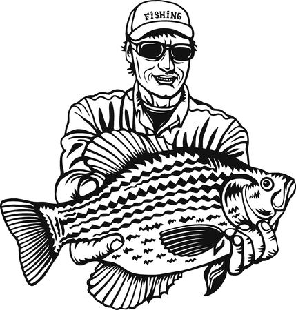 Fisherman and Crappie fish - Freshwater sport fish Ilustrace