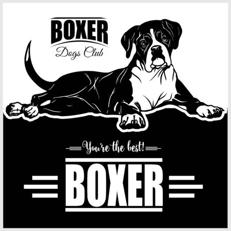 Boxer - vector illustration for t-shirt and template badges in monochrome style