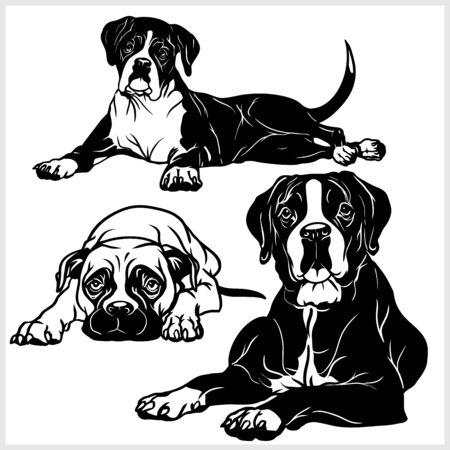 Boxer dog - vector set isolated illustration in black on white background Vector Illustration