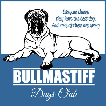 Bullmastiff - vector illustration for t-shirt and template badges Illustration
