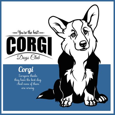 Corgi - vector illustration for t-shirt and template badges Illustration