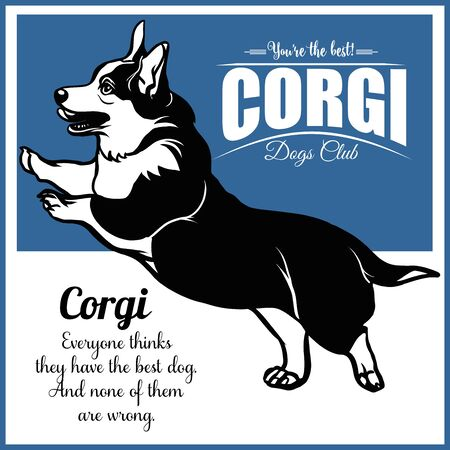 Corgi - vector illustration for t-shirt and template badges Ilustrace