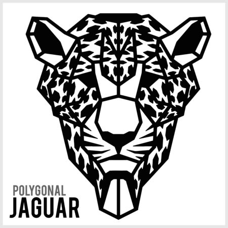 Jaguar head in polygonal style. Polygonal Animals. Vector illustration isolated on white.