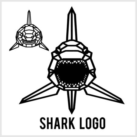 Shark logo - animal heads icons. Vector geometric illustrations of wild life animals.