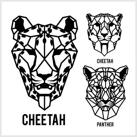 Cheetah and panter - animal heads icons. Vector geometric illustrations of wild life animals.