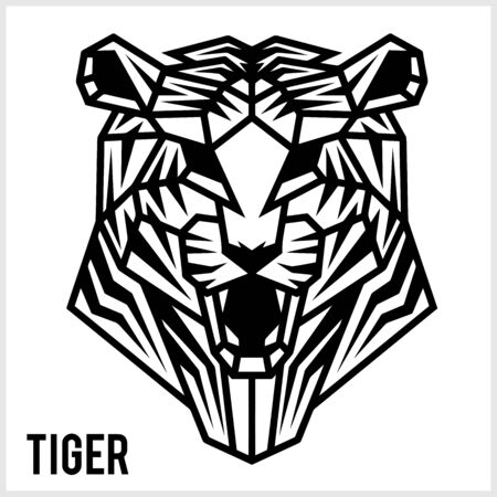 Abstract linear polygonal head of a Tiger. Vector.