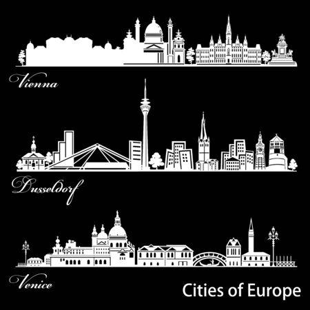City in Europe - Vienna, Dusseldorf, Venice. Detailed architecture. Trendy vector illustration. Ilustrace