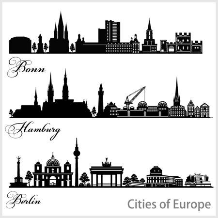 City in Europe - Bonn, Hamburg, Berlin. Detailed architecture. Trendy vector illustration. Ilustrace