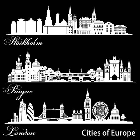 City in Europe - London, Prague, Stockholm. Detailed architecture. Trendy vector illustration.