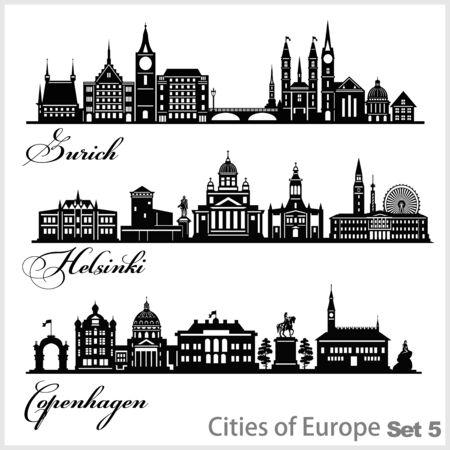 City in Europe - Zurich, Helsinki, Copenhagen. Detailed architecture. Trendy vector illustration.