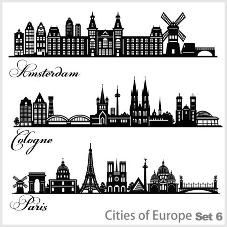City in Europe - Amsterdam, Cologne, Paris. Detailed architecture. Trendy vector illustration.