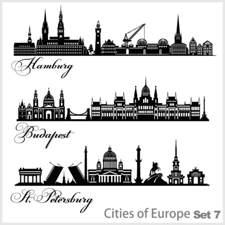 City in Europe - Saint Petersburg, Budapest, Hamburg. Detailed architecture. Trendy vector illustration.