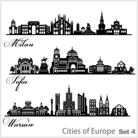 City in Europe - Sofia, Milan, Warsaw. Detailed architecture. Trendy vector illustration.