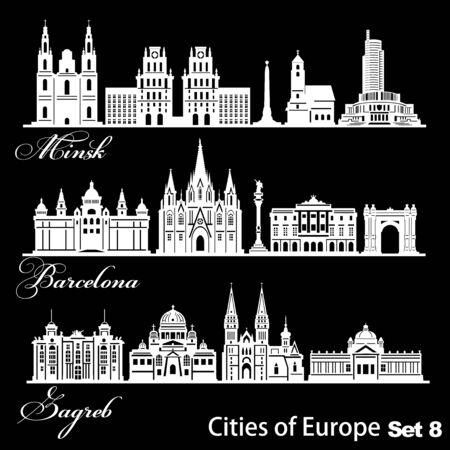 City in Europe - Barcelona, Zagreb, Minsk. Detailed architecture. Trendy vector illustration.