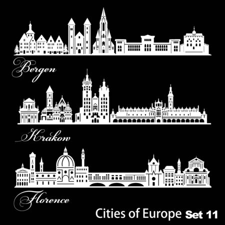 City in Europe - Krakow, Bergen, Florence. Detailed architecture. Trendy vector illustration. Ilustrace