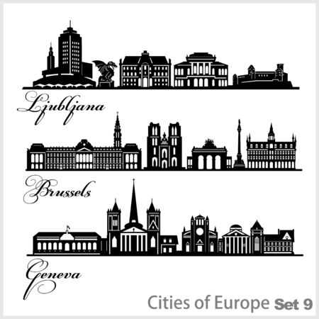 City in Europe - Ljubljana, Geneva, Brussels. Detailed architecture. Trendy vector illustration.