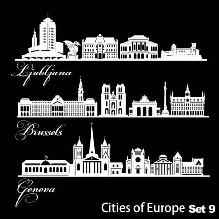 Ciudad en Europa - Ljubljana, Ginebra, Bruselas. Arquitectura detallada. Ilustración vectorial de moda. Ilustración de vector