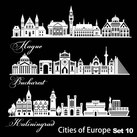 City in Europe - Hague, Kaliningrad, Bucharest. Detailed architecture. Trendy vector illustration.