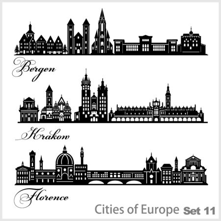 City in Europe - Krakow, Bergen, Florence. Detailed architecture. Trendy vector illustration. Illusztráció