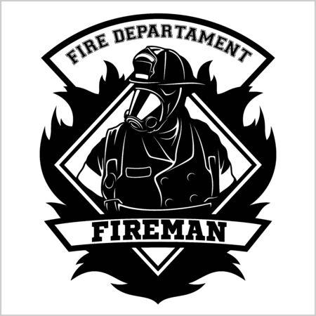 Emblema dei vigili del fuoco - distintivo, logo su sfondo bianco - illustrazione vettoriale. Logo