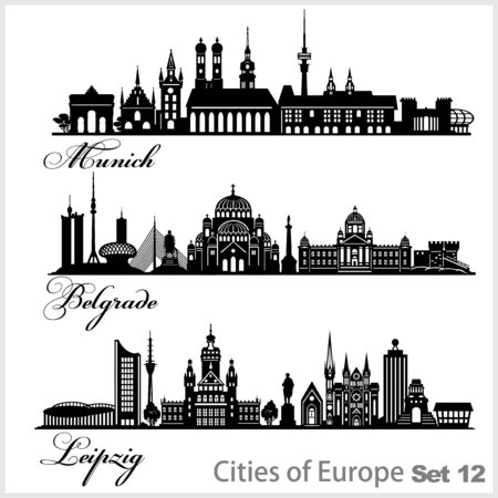 City in Europe - Munich, Belgrade, Leipzig. Detailed architecture. Trendy vector illustration.