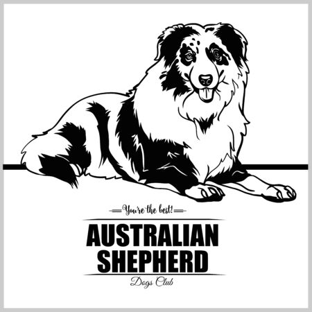 Australian Shepherd - vector illustration for t-shirt, logo and template badges