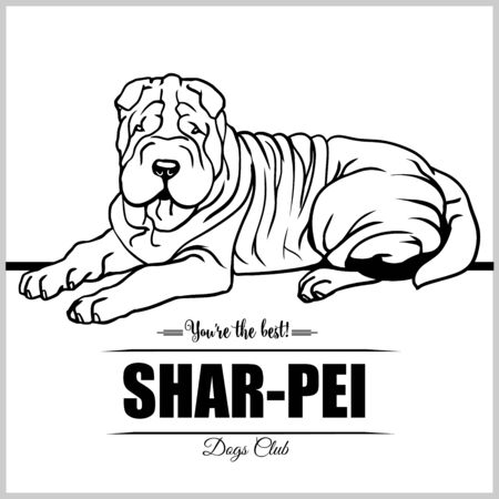 Shar-pei Dog - vector illustration for t-shirt, logo and template badges