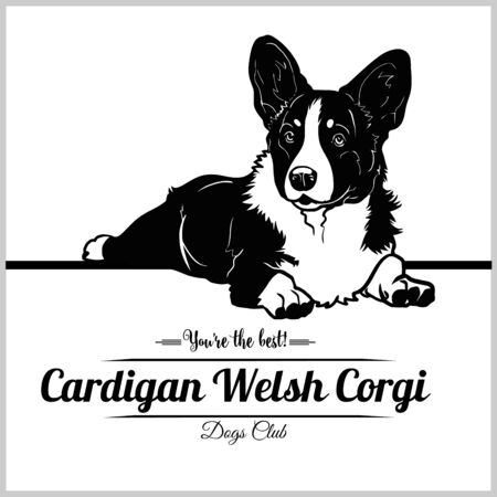 Cardigan Welsh Corgi Dog - vector illustration for t-shirt, logo and template badges Çizim