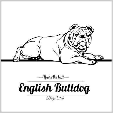 Perro Bulldog Inglés - ilustración vectorial para camisetas, logotipos e insignias de plantillas