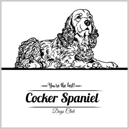 Cocker Spaniel Dog - vector illustration for t-shirt, logo and template badges  イラスト・ベクター素材
