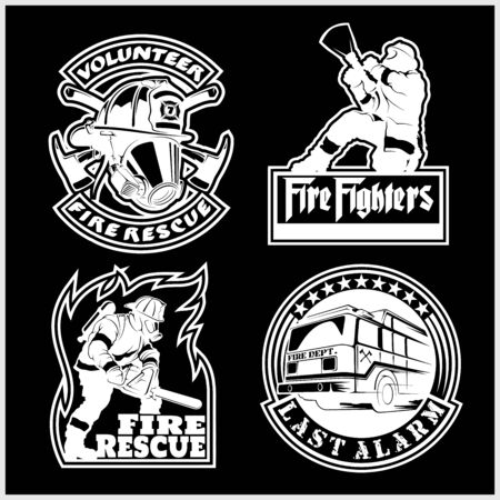 Firemans vector set - t-shirt graphics, fire department, sworn to protect Çizim